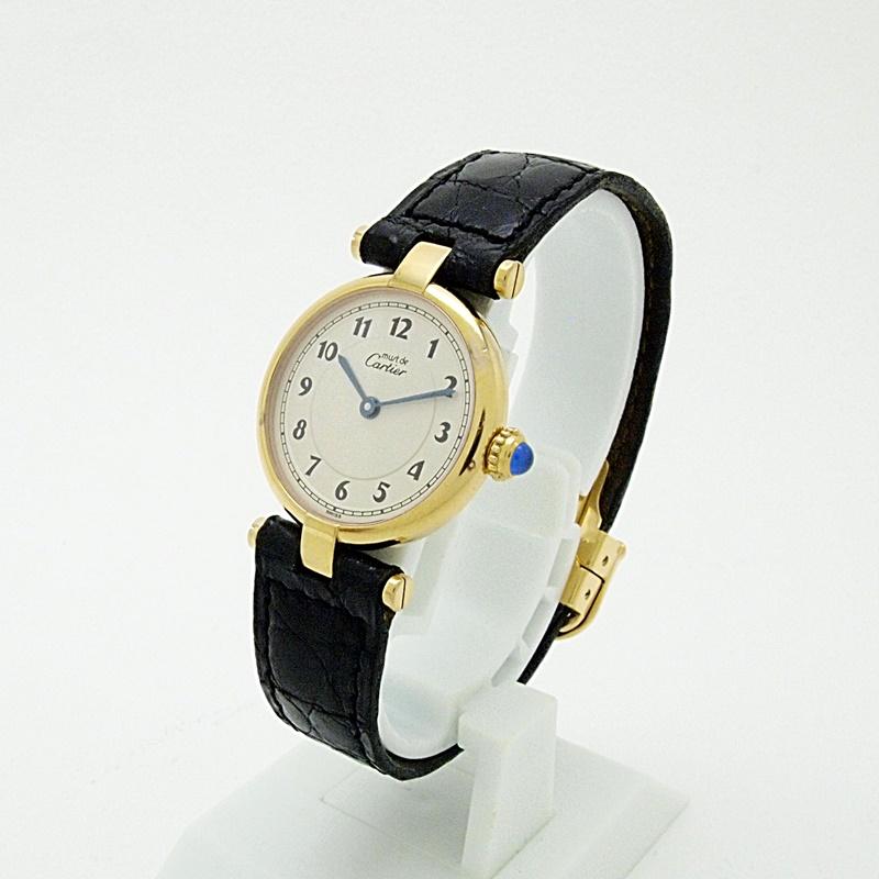 http://カルティエ%20Cartier%20レディース腕時計%20マスト ヴェルメイユ%20SV(シルバー)/革%20白文字盤%20中古