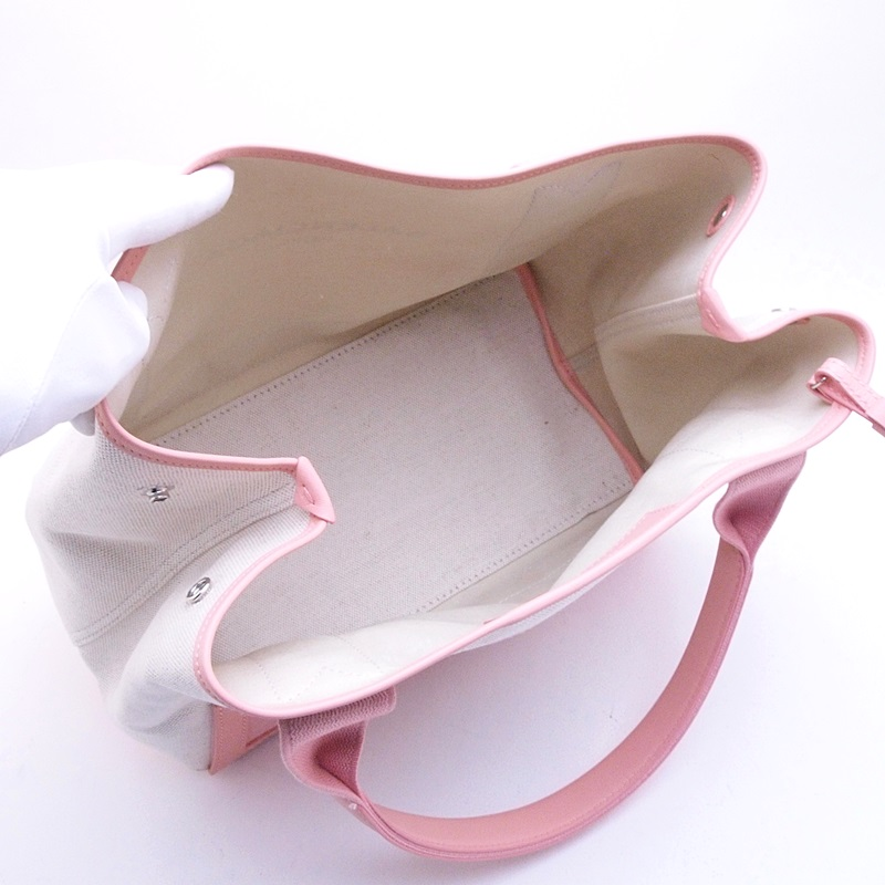 バレンシアガ ハンドバッグ ネイビー カバS 339933 キャンバス/レザー ベージュ/ピンク 新品同様 新入荷