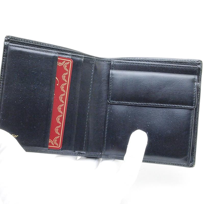 カルティエ Cartier 二つ折財布 マスト 二つ折り財布 レザー 黒 中古