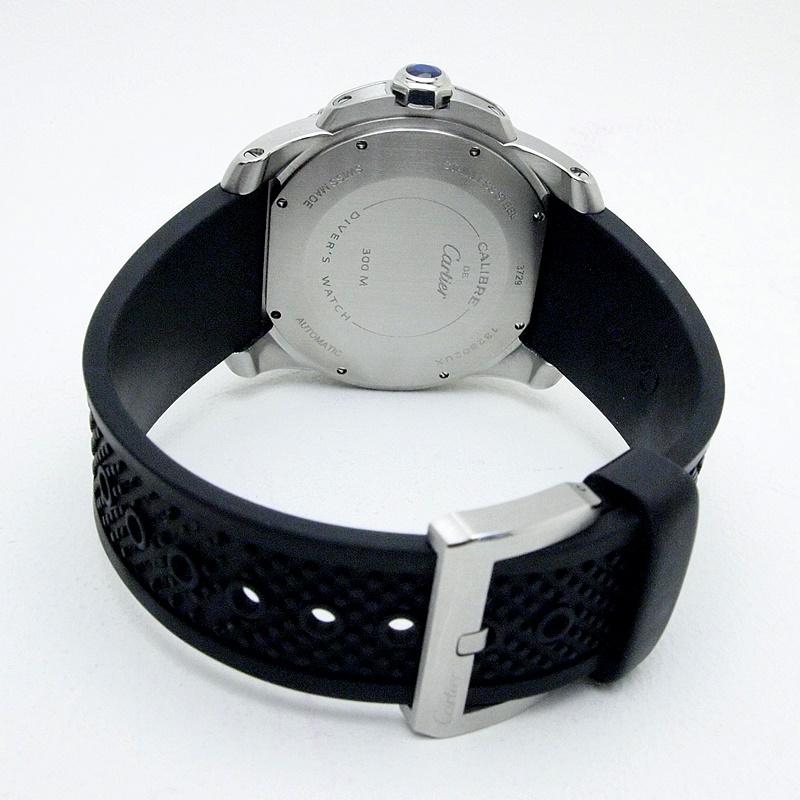 カルティエ Cartier メンズ腕時計 カリブルドゥカルティエ ダイバー W7100056 ステンレス/ラバー 黒文字盤 中古