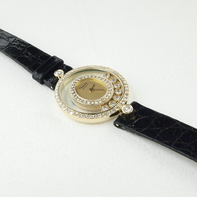 ショパール レディース腕時計 ハッピーダイヤモンド K18/革/ダイヤモンド ゴールド 中古