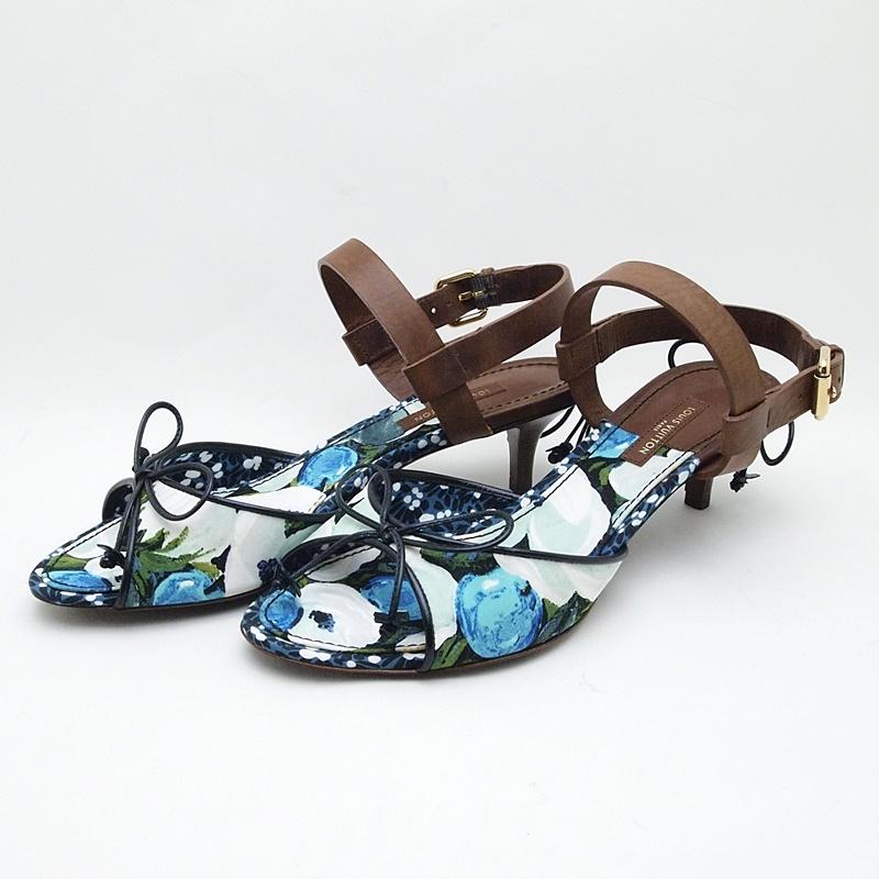 http://ルイ・ヴィトン%20LOUISVUITTON%20靴スカーフ%20サンダル%20レザー/キャンバス%20青/茶%20中古%20新入荷