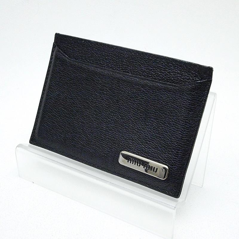 ミュウミュウ 財布 ミュウミュウ カードケース レザー 黒、 中古
