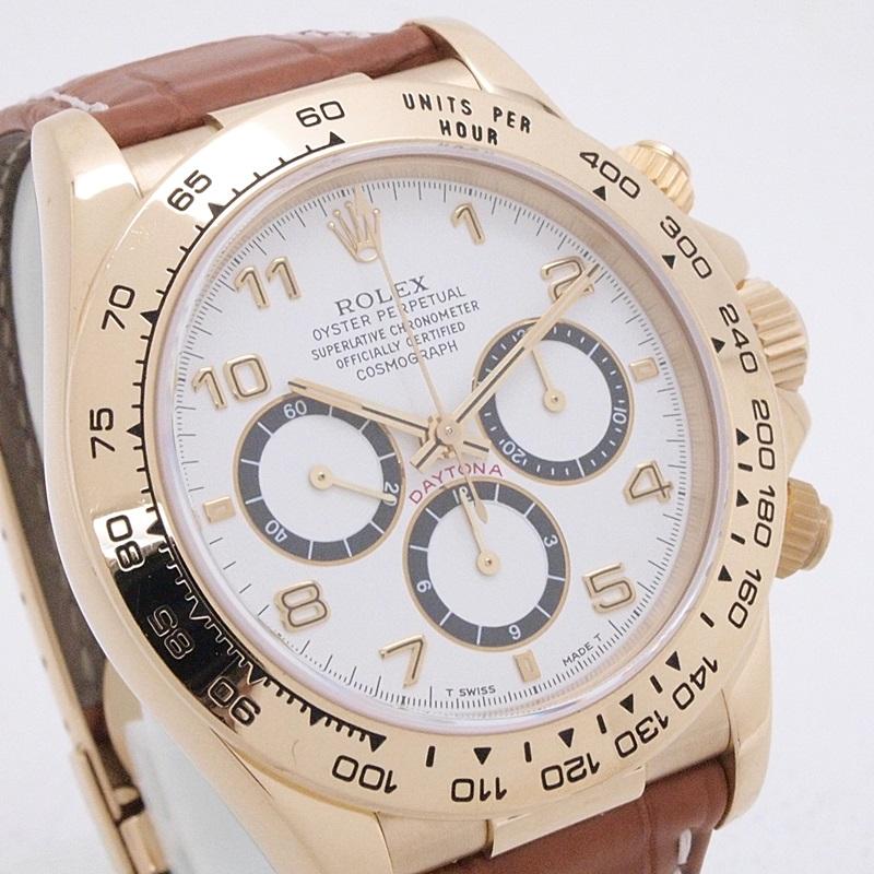 ロレックス ROLEX メンズ時計 デイトナ 16518 YG/革 ホワイト文字盤 中古