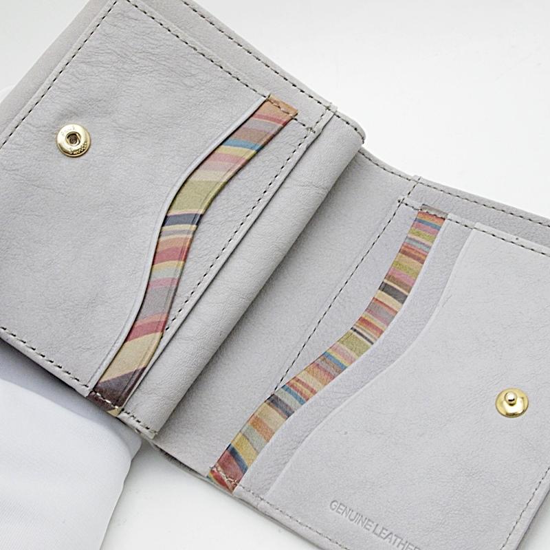 二つ折財布 ポールスミス二つ折り財布 カーフ グレー 中古