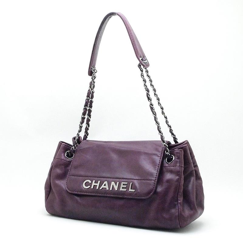 シャネル CHANEL ショルダーバッグ チェーンショルダー レザー 紫色 中古