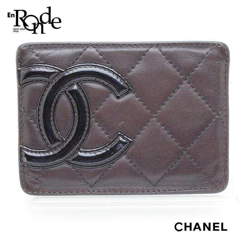 シャネル CHANEL 財布 カードケース カンボンライン A26725 レザー 茶/オレンジ 中古 おすすめ
