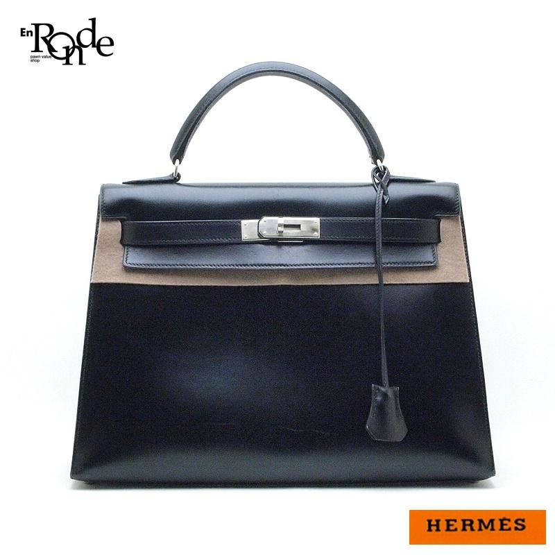 エルメス HERMES ハンドバッグ ケリー32cm ボックスカーフ 黒、 中古 おすすめ