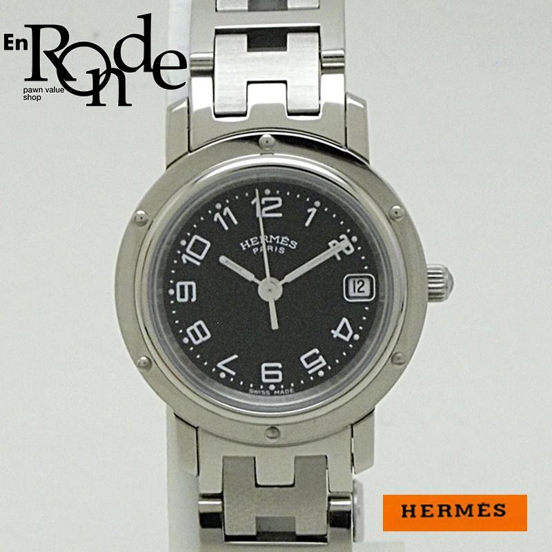 エルメス HERMES レディース腕時計 クリッパー  CL4210 ステンレス 黒文字盤 中古 新入荷 おすすめ