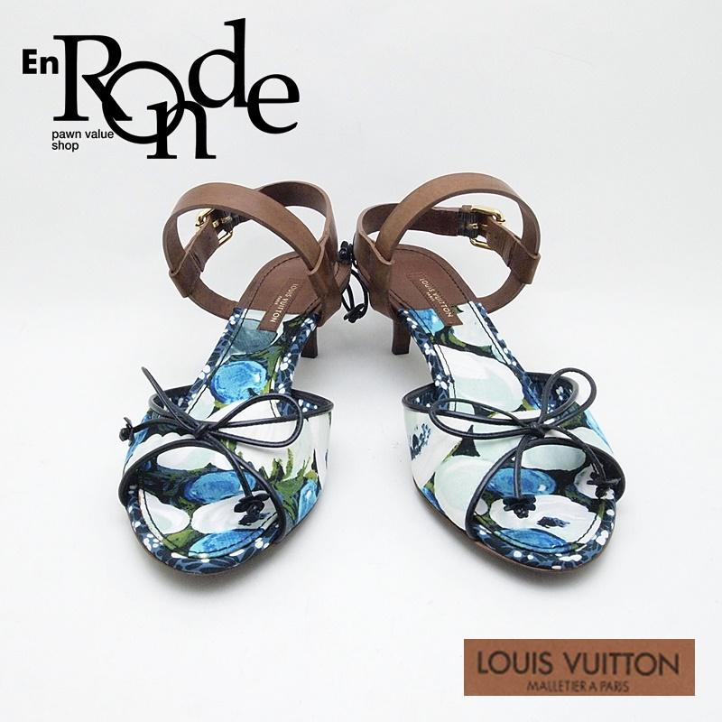 ルイ・ヴィトン LOUISVUITTON 靴スカーフ サンダル レザー/キャンバス 青/茶 中古 新入荷