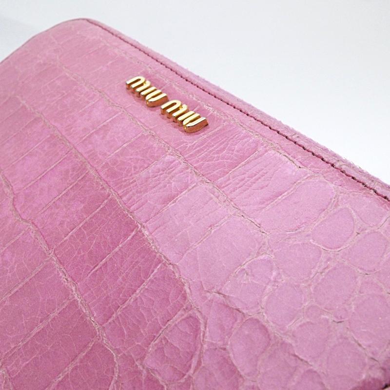 ミュウミュウ 長財布 ラウンドファスナー カーフ型押し ピンク 中古