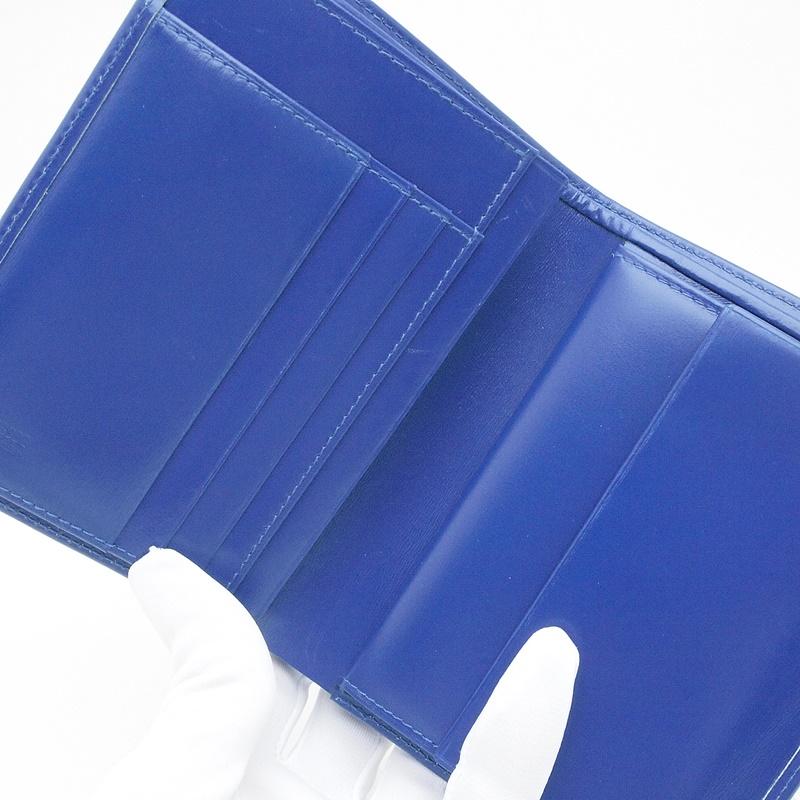 二つ折財布 コンテス 2つ折り財布 ホースヘアー/レザー 青 中古