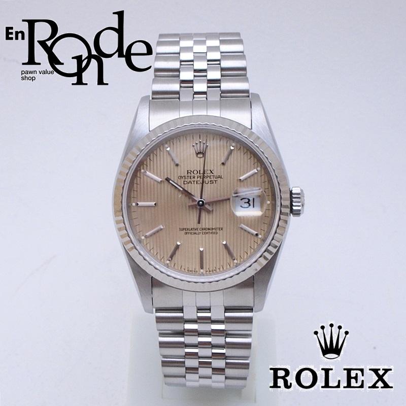 ロレックス ROLEX メンズ腕時計 デイトジャスト 16234 SS/WG タペストリー文字盤 中古