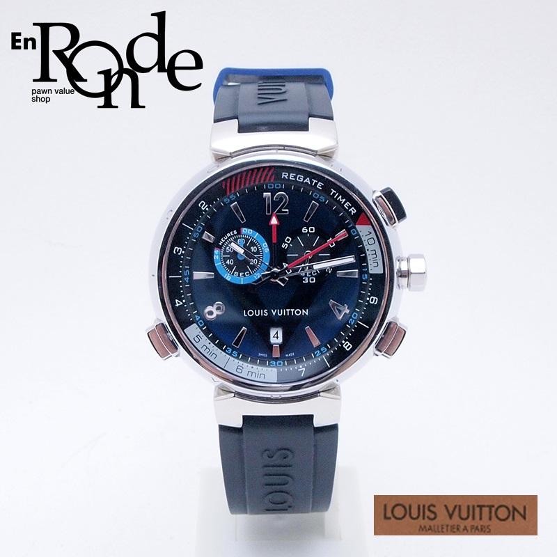 ルイ・ヴィトン LOUISVUITTON メンズ腕時計 タンブール レガッタクロノ Q102D SS/ラバー ネイビー文字盤 中古 新入荷
