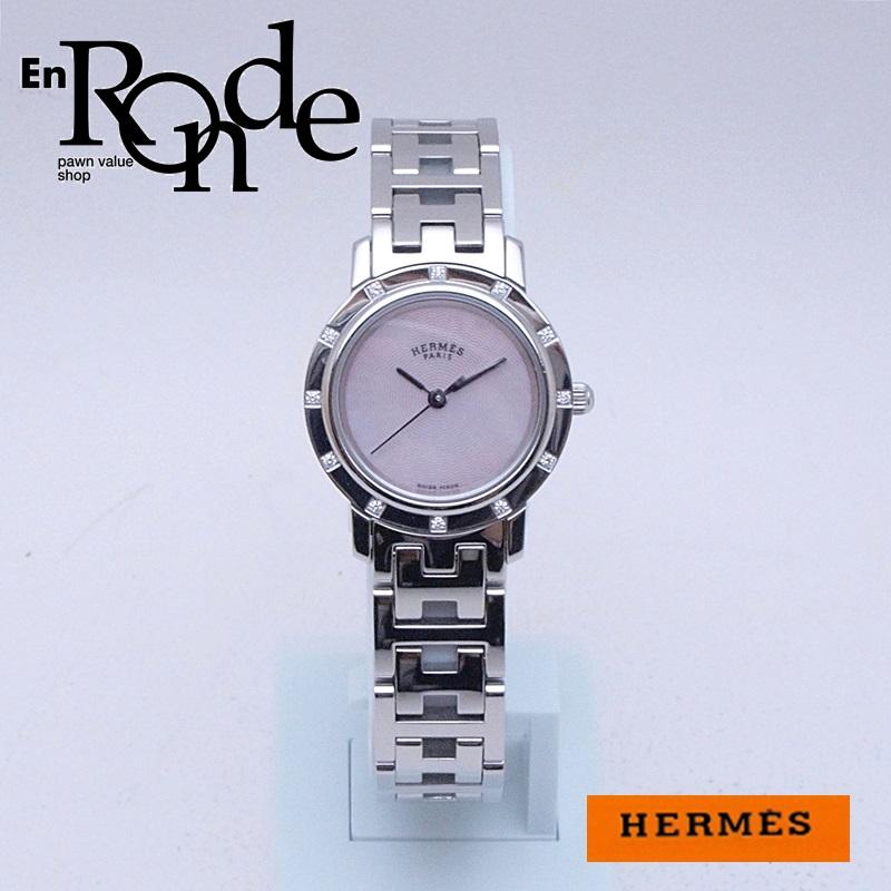 エルメス HERMES レディース腕時計 クリッパーナクレ CL4230 SS/ダイヤ入り シェル文字盤 中古