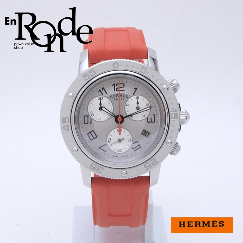 http://エルメス%20HERMES%20レディース腕時計%20クリッパー ダイバークロノ%20CP2410%20SS/ラバー%20シルバー文字盤%20中古%20新入荷