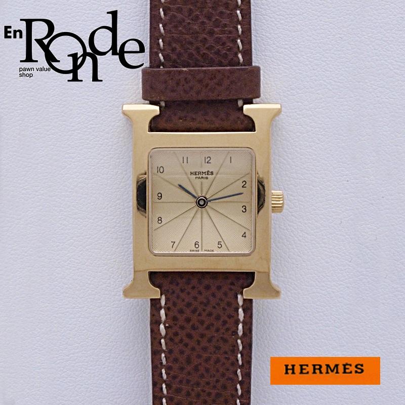 エルメス HERMES レディース腕時計 Hウォッチ HH1201 GP/革 ゴールド文字盤 中古 新入荷