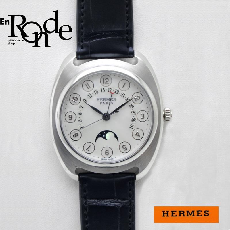 エルメス HERMES メンズ時計 ドレサージュ ムーンフェイズ DR2765 Pt/革/K18WG シェル文字盤 中古 新入荷 おすすめ