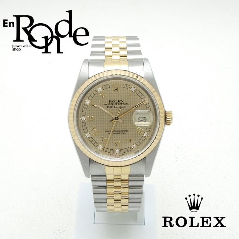 ロレックス ROLEX メンズ腕時計 デイトジャスト 16233G SS/YG ダイヤ入り ハウンズトゥース文字盤 中古 新入荷 おすすめ