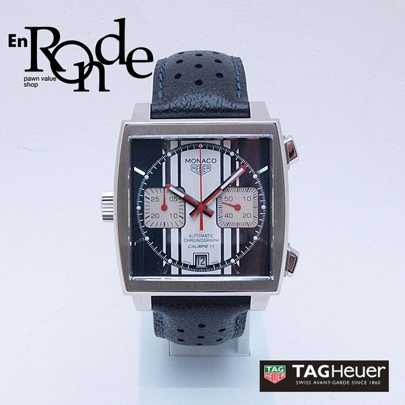 タグホイヤー メンズ腕時計 モナコ CAW211DFC6300 SS(ステンレス)/革 ブルー/ホワイト文字盤 中古 新入荷 おすすめ