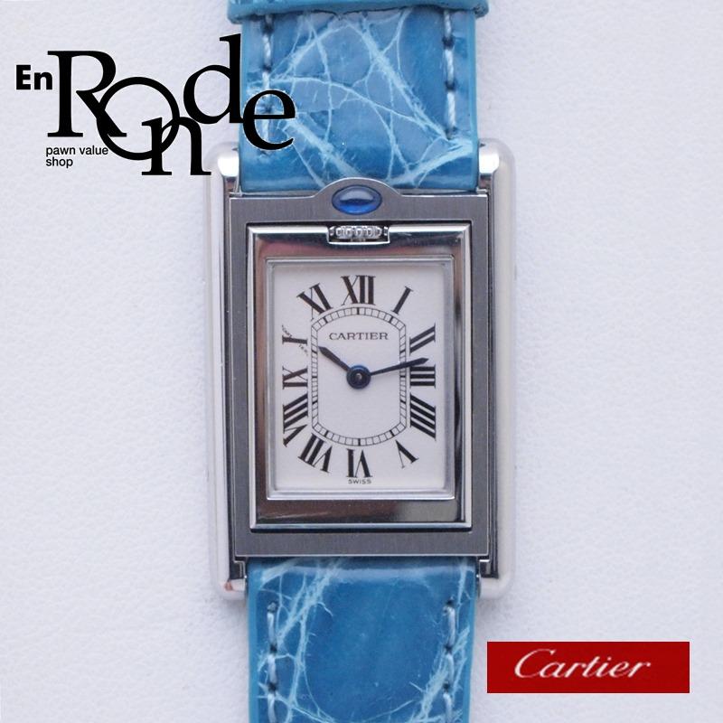 カルティエ Cartier レディース腕時計 タンク・バスキュラント SS/革 アイボリー文字盤 中古 新入荷 おすすめ