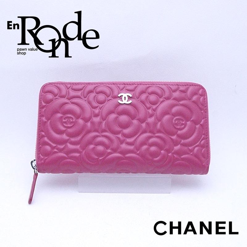 シャネル CHANEL 長財布 ラウンドファスナー財布 A82281 レザー ピンク カメリア型押し 中古 新入荷 おすすめ