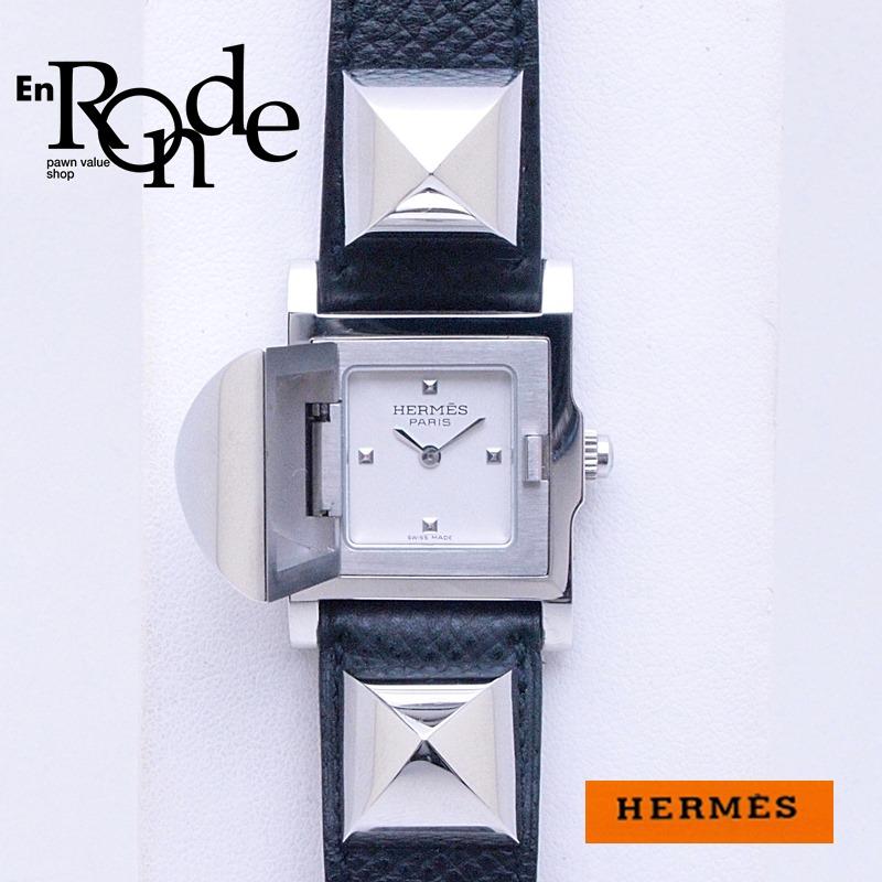 エルメス HERMES レディース時計 メドール ME2-210 SS/革 ホワイト文字盤 中古