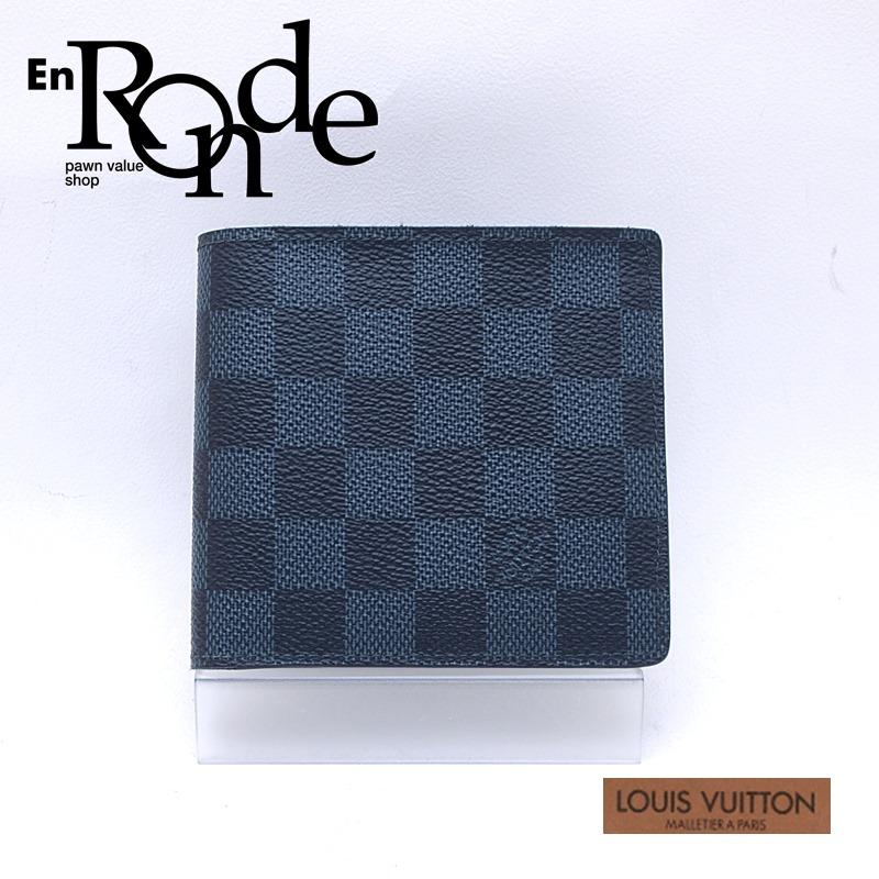 ルイ・ヴィトン LOUISVUITTON ダミエ 二つ折財布 ポルトフォイユ・マルコ N63351 コーティングキャンバス ダミエコバルト 中古 新入荷 おすすめ