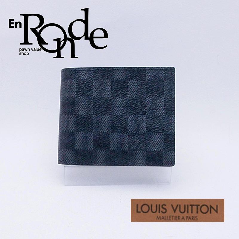 ルイ・ヴィトン LOUISVUITTON ダミエ 二つ折財布 ポルトフォイユマルコ N63336 コーティングキャンバス グラフィット 中古