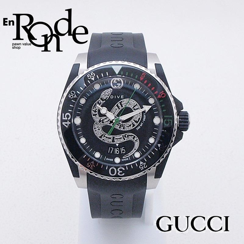 グッチ GUCCI メンズ腕時計 ダイブ YA136323 SS/ラバー スネークモチーフ文字盤 中古