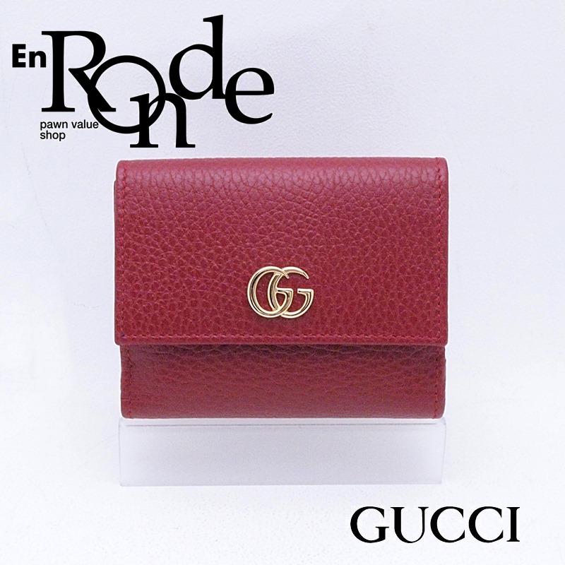 グッチ GUCCI 二つ折財布 Wホックコンパクト財布 プチマーモント 524672 レザー レッド 新品同様