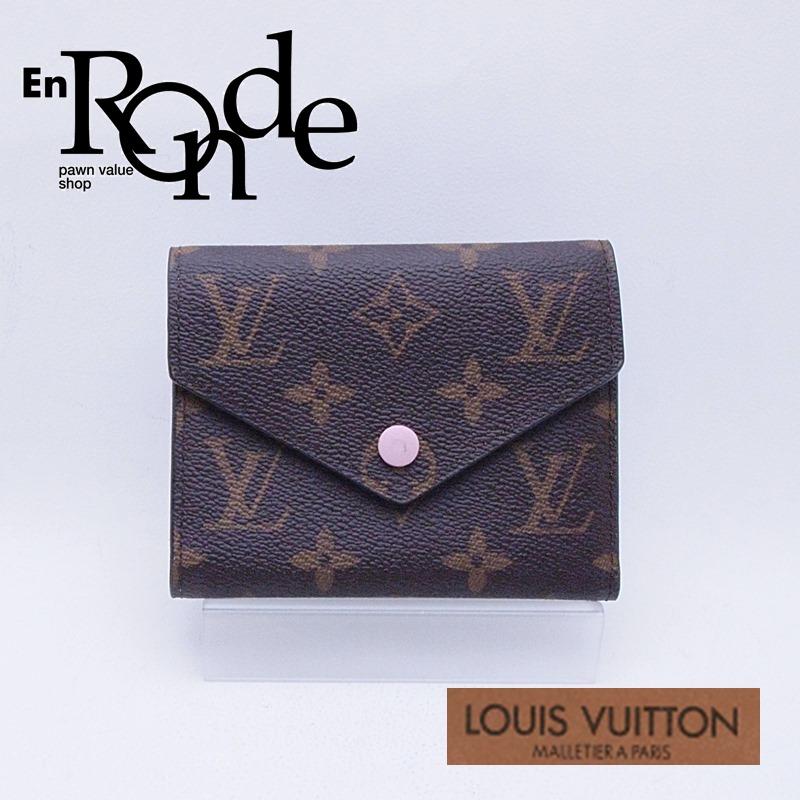 ルイ・ヴィトン LOUISVUITTON モノグラム 二つ折財布 ポルトフォイユ・ヴィクトリーヌ M62360 コーティングキャンバス ローズバレリーヌ 中古