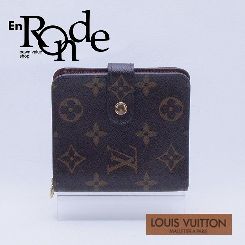 ルイ・ヴィトン LOUISVUITTON モノグラム 二つ折財布 コンパクト・ジップ M61667 コーティングキャンバス モノグラム 中古