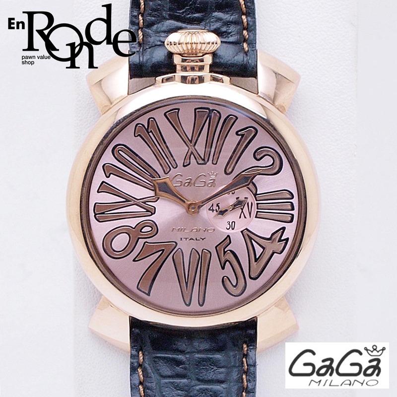 ガガミラノ メンズ腕時計 マヌアーレ スリム46mm 5085-02 PGP/革 ピンクゴールド文字盤 中古