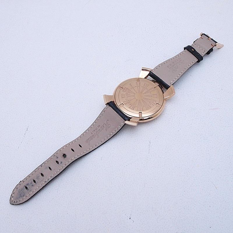 http://ガガミラノ メンズ腕時計%20マヌアーレ スリム46mm%205085-02%20PGP/革%20ピンクゴールド文字盤%20中古