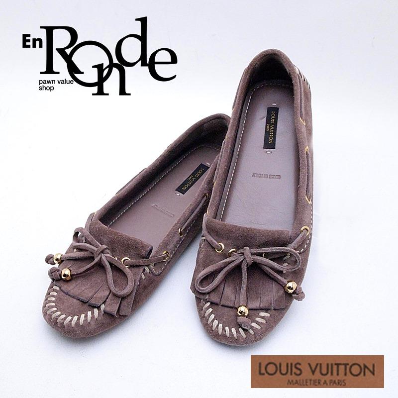 ルイ・ヴィトン LOUISVUITTON 靴スカーフ ドライビングシューズ スウェード モカ 中古