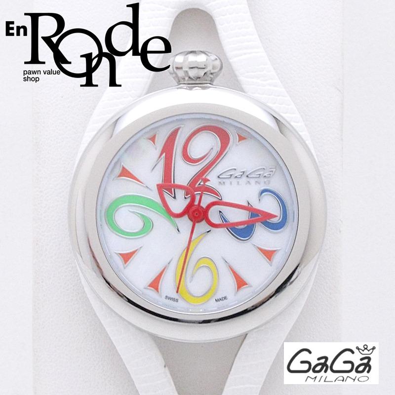 ガガ・ミラノ メンズ腕時計 フラット42mm 6070 SS/革 シェル文字盤 中古