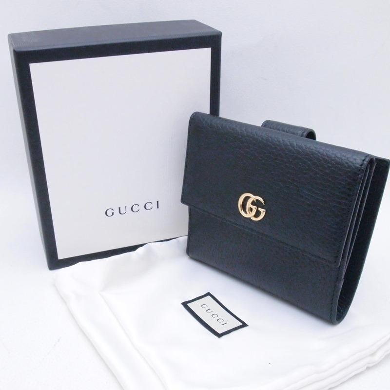 グッチ GUCCI 二つ折財布 フレンチフラップウォレット プチマーモント 456122 レザー ブラック 新品同様