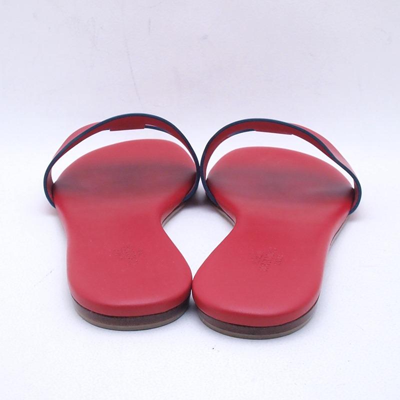 http://エルメス%20HERMES%20靴スカーフ%20サンダル シェーヌダンクル%20レザー%20レッド%20中古