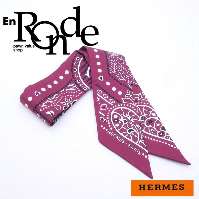 エルメス HERMES 靴スカーフ ツイリー シルク100% ボルドーペイズリー柄 中古