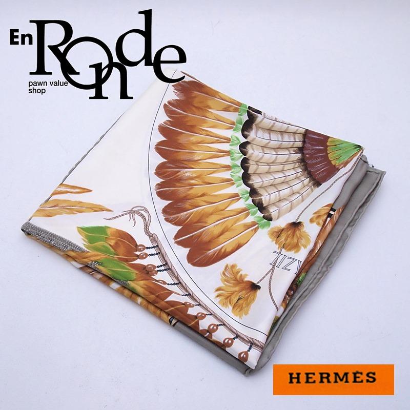 エルメス HERMES 小物アクセサリー スカーフ カレ90 BRAZIL シルク100% ブラジル 羽柄 中古