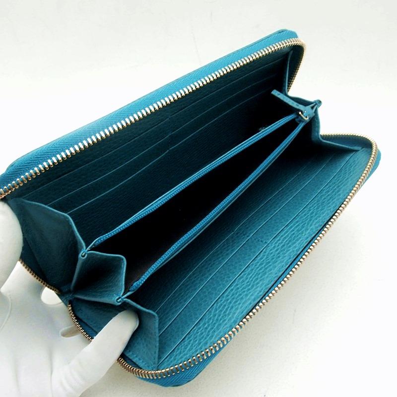 グッチ GUCCI 長財布 ラウンドファスナー財布 363423 GGキャンバス ベージュ/ブルー 新品同様