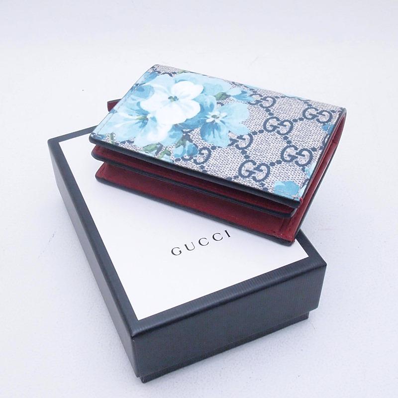 グッチ GUCCI 二つ折財布 コンパクト財布 546372 GGブルームス グレー/ブルー 新品同様