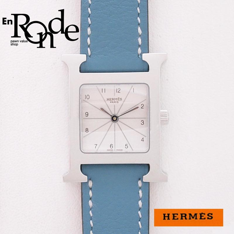 エルメス HERMES レディース腕時計 Hウォッチ HH1-210 SS(ステンレス)/革 ホワイト文字盤 中古