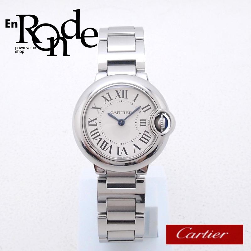 カルティエ Cartier レディース腕時計 バロンブルーSM W69010Z4 SS(ステンレス) シルバー文字盤 中古