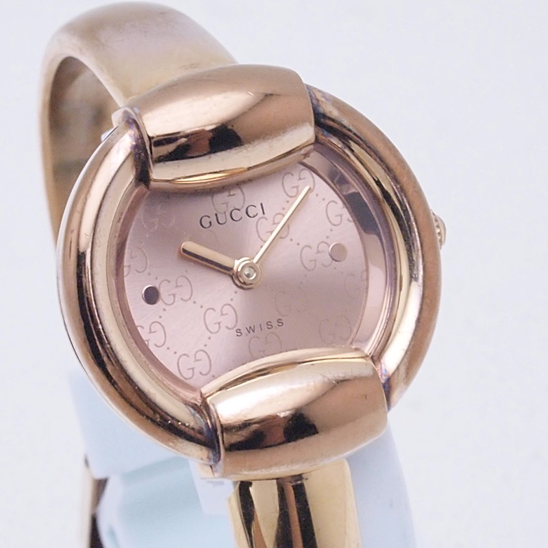 http://グッチ%20GUCCI%20レディース腕時計%201400L%201400L%20PGP%20ピンク文字盤%20中古
